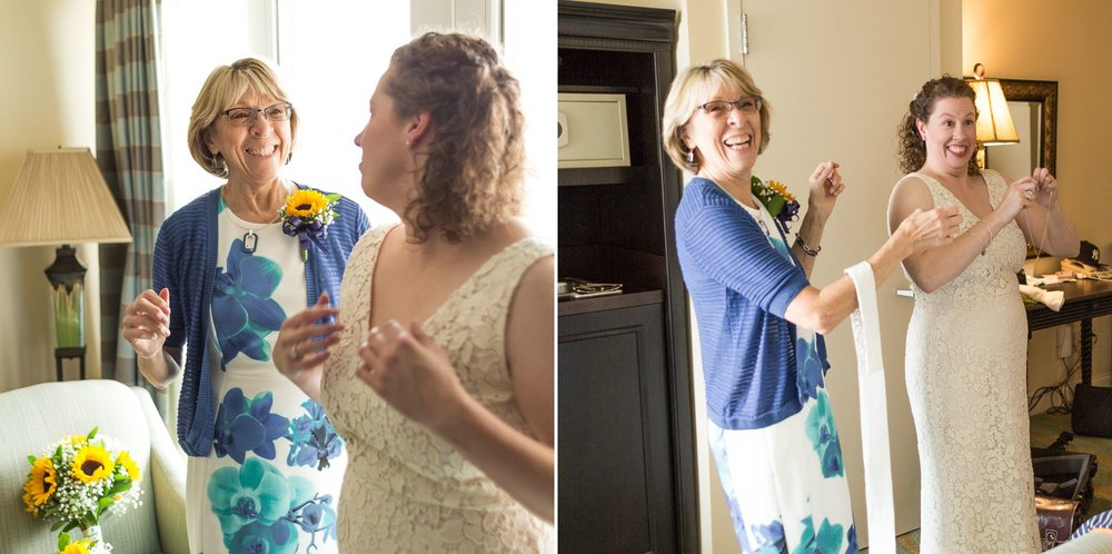 A couple candids of the beautiful bride getting ready for their ceremony on the rocks in Maine! We owe thanks to all the moms who have been their for their daughters, helping with the wedding dress!