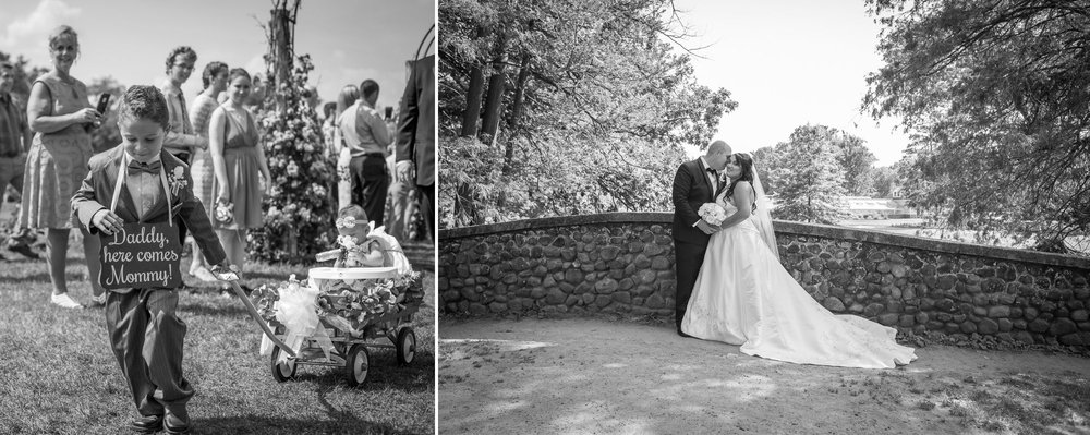 This beautiful bride had their son pull the wagon with his sister in it! This was such a fun idea and a great day at Elizabeth Park to make their family & marriage official!
