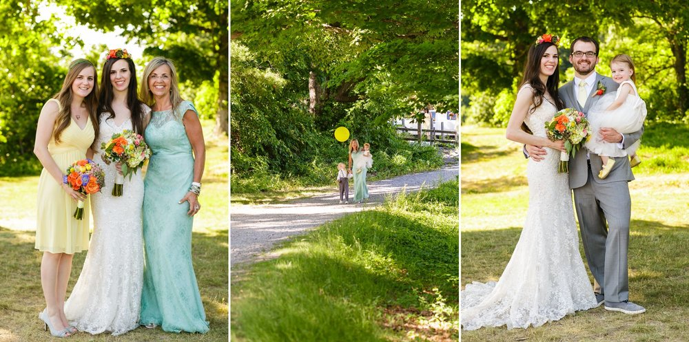 Ah, I can't get over how much I love the pop of colors in the LaJolieFleur flowers, and the balloon! Thanks to the mom for walking with the kids to the Old Stone Church ceremony site and being such a comfort and joy to the little ones!