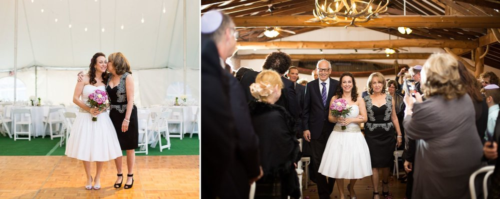 It was so neat to see both mom and dad leading this beautiful bride down the aisle at this Jewish wedding ceremony at Club Getaway, in Kent, CT. Peace and excitement all at the same time!