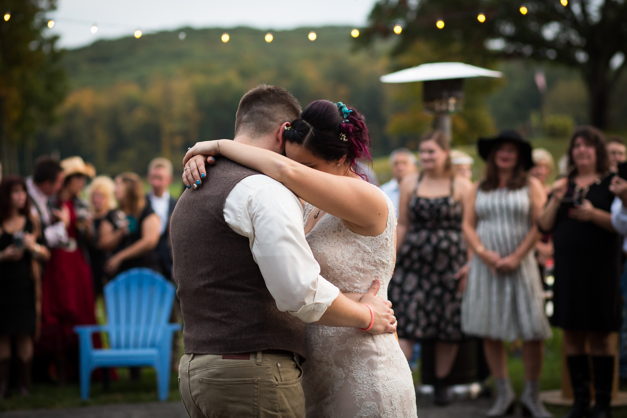 quiet moment of the first dance at Candlelight Farms Inn
