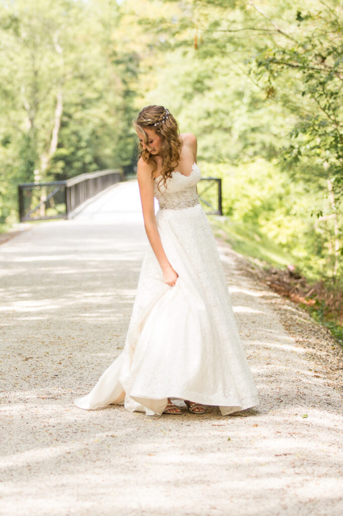 bride portrait on path at Holliston 8 Arch Bridge