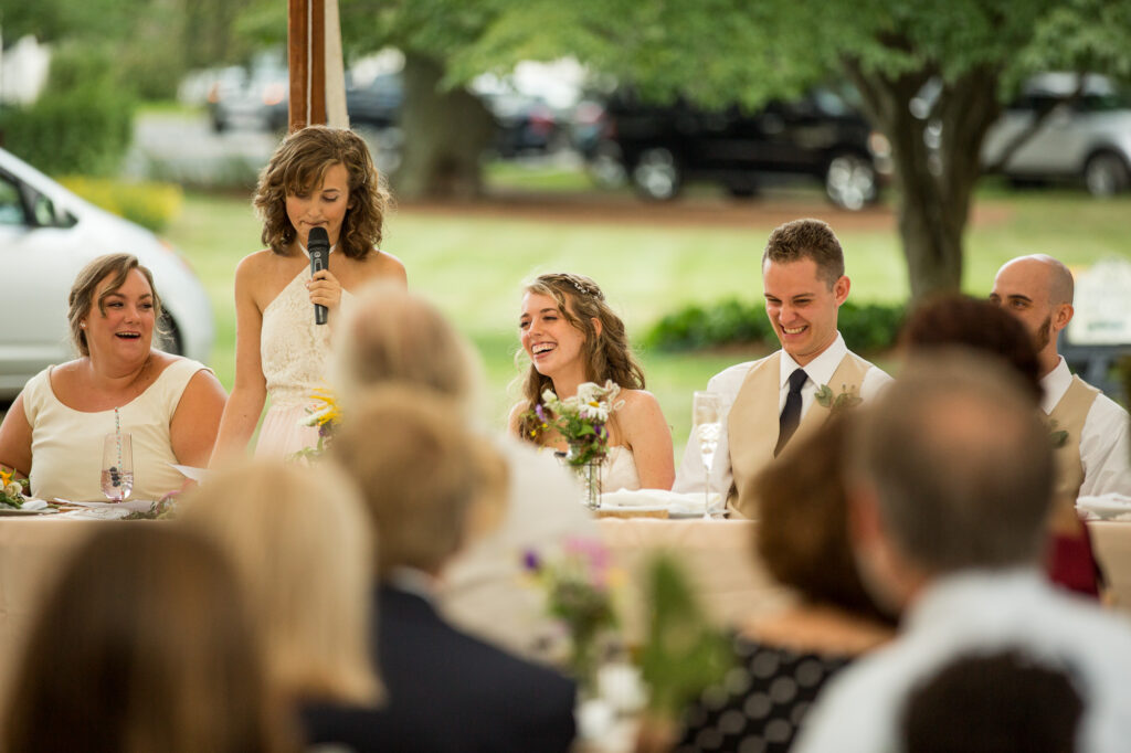 maid of honor speech at barn wedding at Holliston