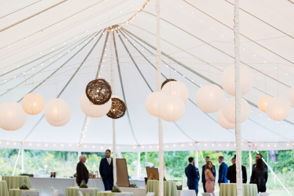 lighting decor by MJ Decorations inside tent at Priam Vineyards