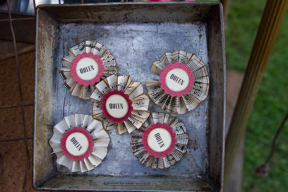 DIY pins out of old sheet music