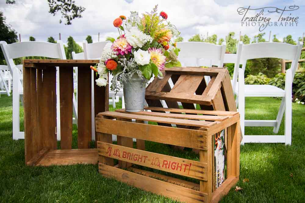 brown wood crates for ceremony decor