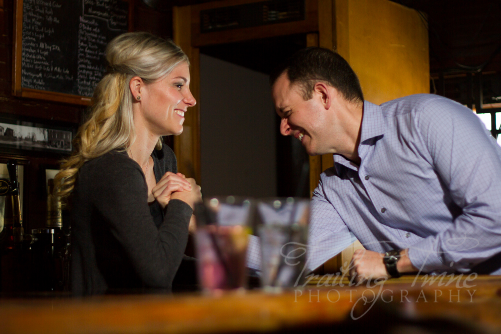 engagement photography at Vincent's Bar in Worcester, MASS.