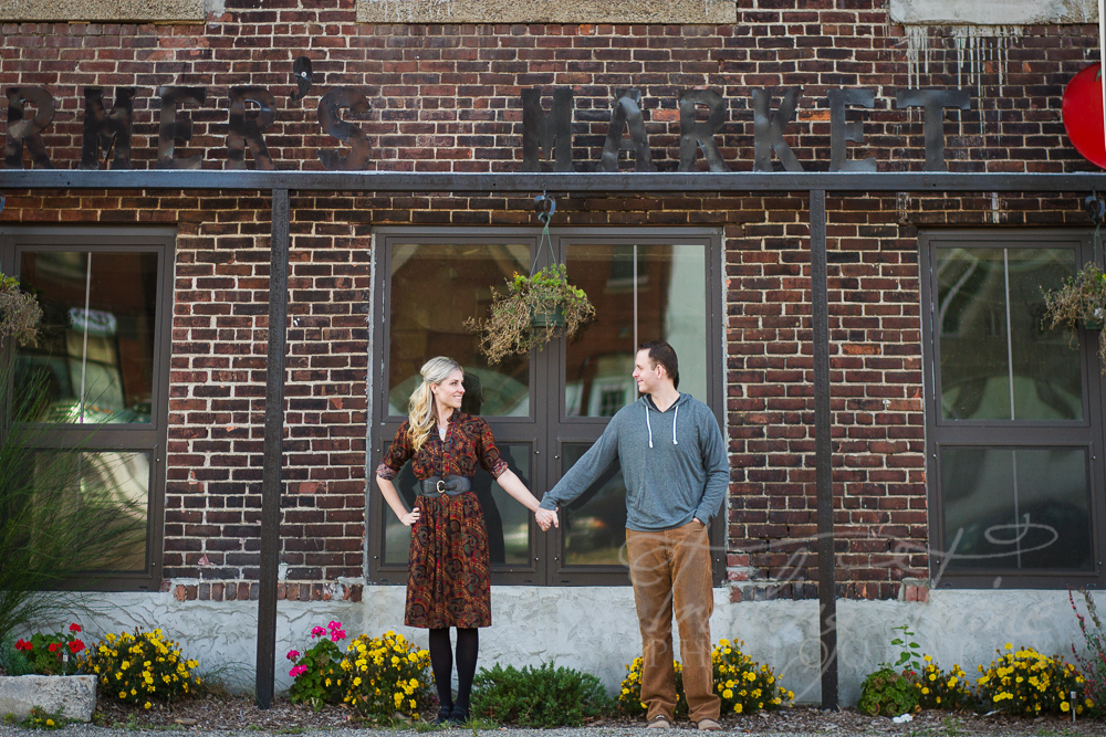 engagement photography outside Crompton Collective in Worcester, MA