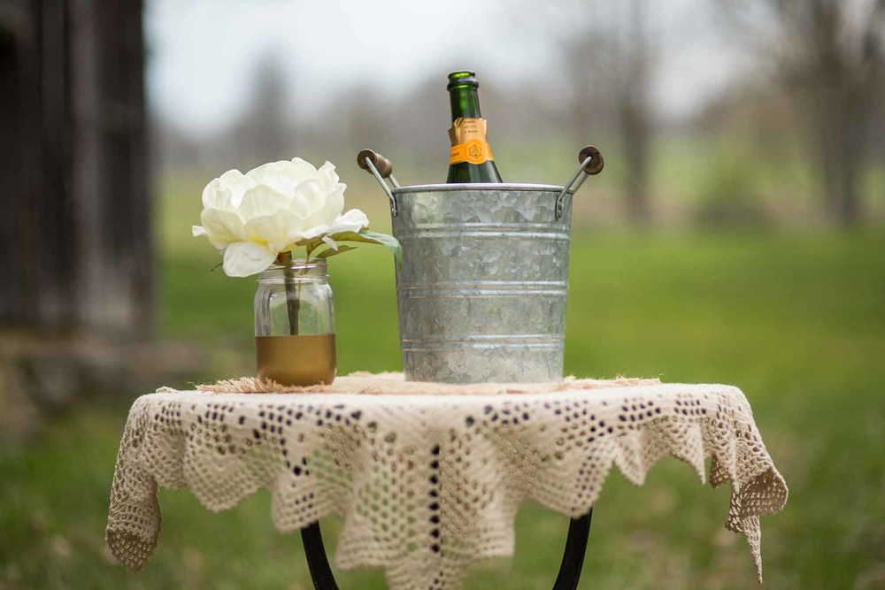 Rustic chic champagne table