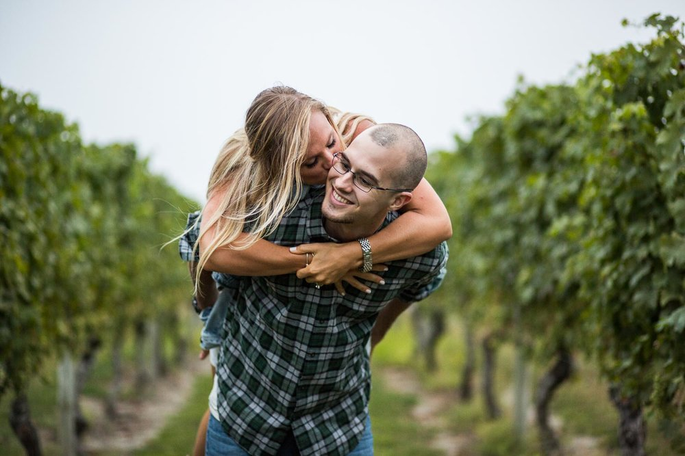 Carolyn Sakonnet Vineyard RI Engagement Session in the vines