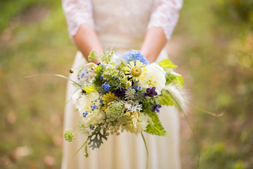 This is a bouquet of wildflowers grown by Wild Rose Farm of Florence, Massachusetts. Wisps of grasses, Bachelor's Buttons, Hydrangea, Queen Anne's Lace, Daisies.