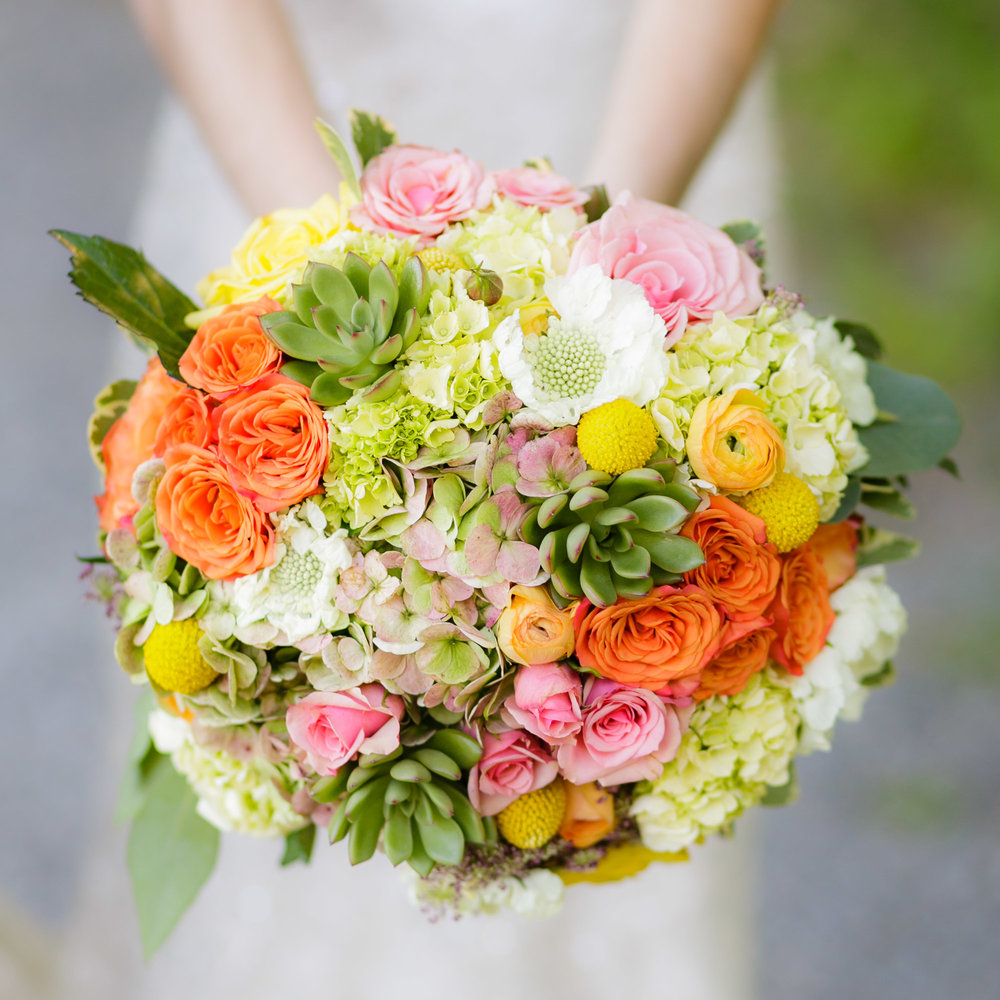 These flowers didn't move one bit in this large, compact beautiful bouquet of Succulents, pink and orange roses, Antique Hydrangea, large white Scabiosa, and yellow Ranunculus.