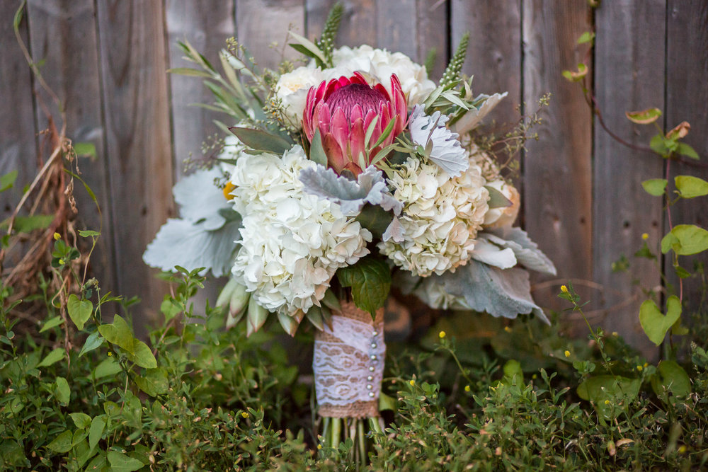 Whole Foods Market in Massachusetts made this rustic bouquet of white Hydrangeas, Dusty Miller leaves, one large magenta Protea, and seeded Eucalyptus.