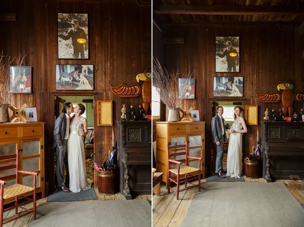 Some quick candids in the doorway to one of the rooms where the bride or groom can get ready for the big day. The Golden Lamb Buttery is filled with antiques and vintage photographs. There's no need to string up much wedding decor!