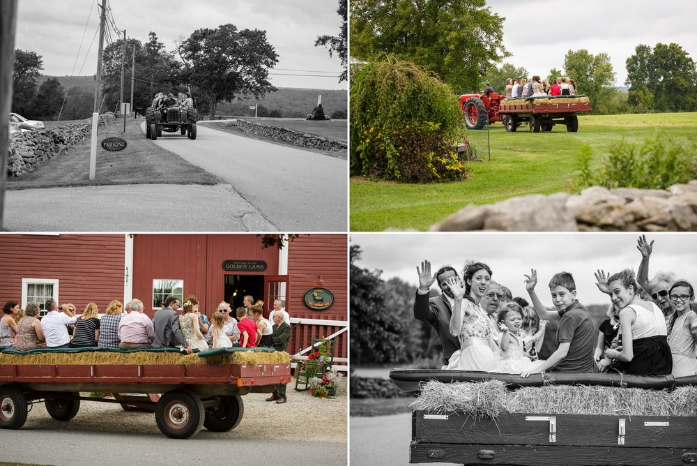 Instead of wedding guest favors, a lot of couples choose to give their guests a fun hayride around the farm, accompanied by acoustic guitar music.
