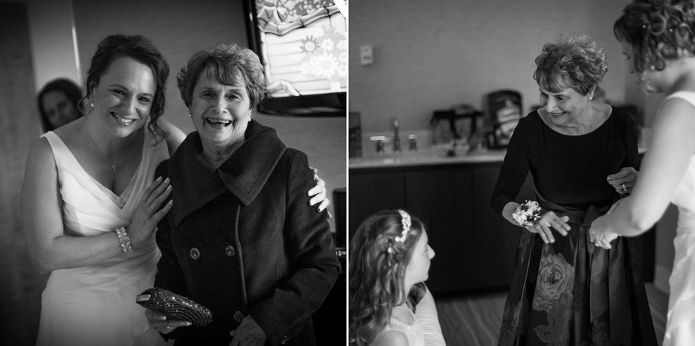 Totally in love with black and white images, especially of these two ladies! Three generations in the frame, with grandma showing off her corsage handmade by the bride. Love this winter wedding at Heritage Hotel!
