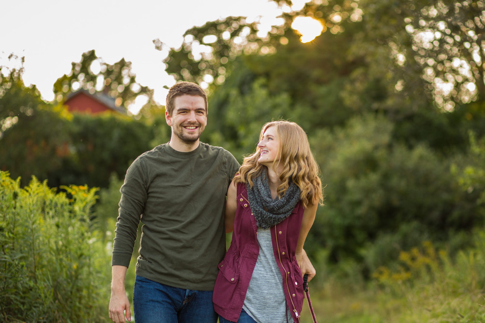 golden hour farm engagement session in Pomfret, CT