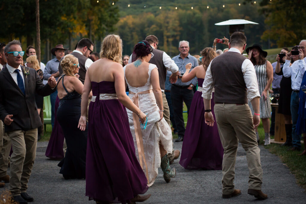 wedding party country line dancing at Candlelight Farms Inn