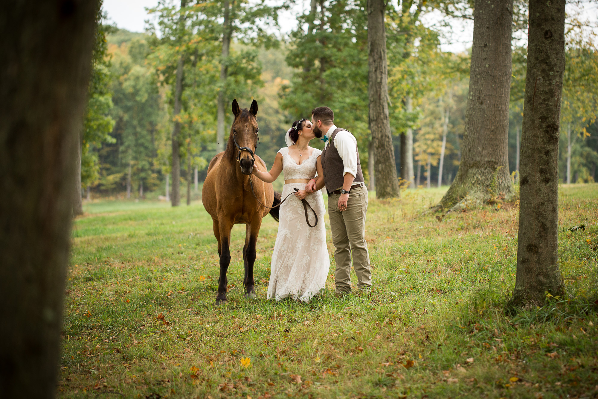 bride and groom kissing by a brown horse at Candlelight Farms inn