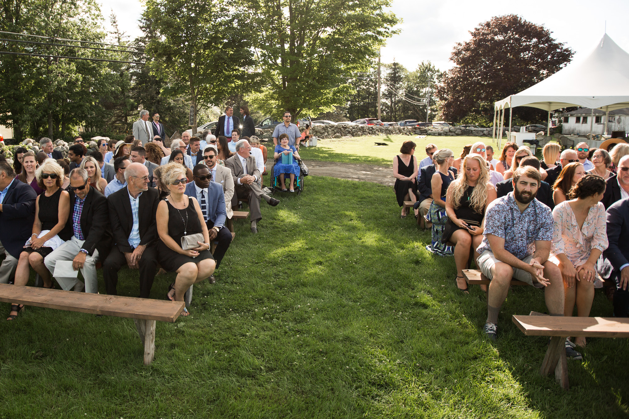 wedding guests waiting at ceremony location at Bunnell Farm in Litchfield, CT