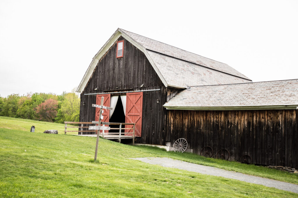 view of the barn at Bliss Farm in Granville MA