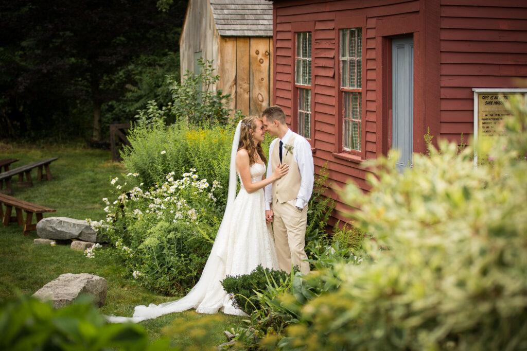 bride and groom portrait at Holliston