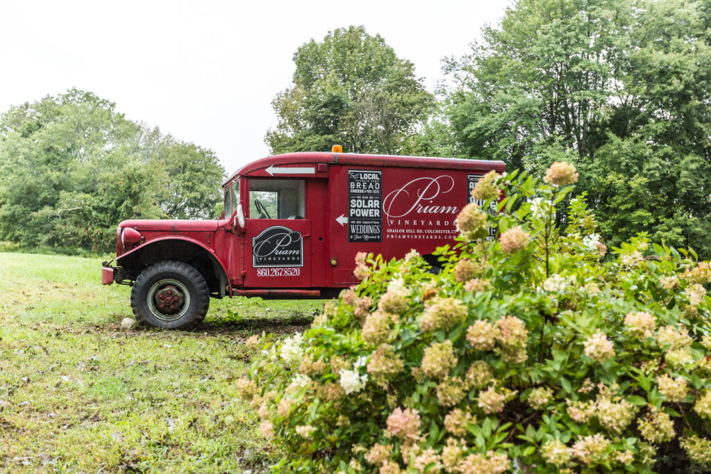 antique truck at Priam Vineyard CT wedding venue