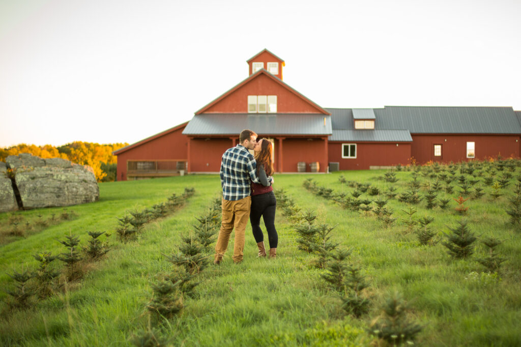 engaged couple at Allen Hill Farm