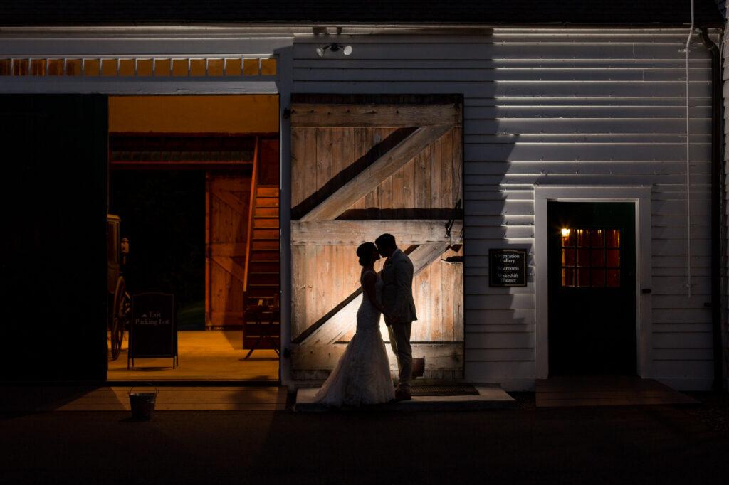 silhouette nighttime bride groom portrait hill-stead musem barn