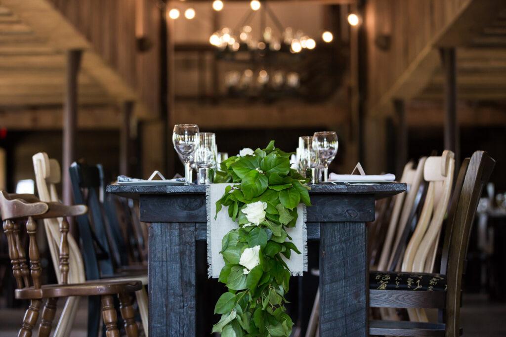 floral decor at South Farms wedding reception